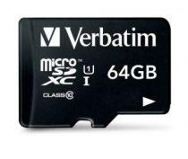 Micro SD / TransFlash - Verbatim MicroSDXC 64GB Class 10 + Adapter