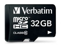 Micro SD / TransFlash - Verbatim MicroSDHC 32GB Class 10 + Adapter