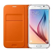 Accessori Galaxy S6  - Samsung Flip Wallet Fabric Orange Galaxy S6