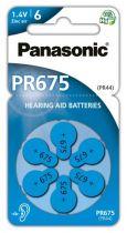 Revenda Pilhas - Pilhas Aparelho auditivo Panasonic PR675 Zinc Air conjunto 6