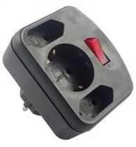 Adattatori rete - REV Adattatori surge protection black, 3-gap, switch
