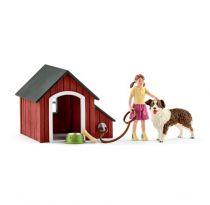 Revenda Figuras Animais - Schleich Farm World 42376 Dog Stable