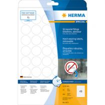 Revenda Papel - Herma hard-wearing Labels round 30mm 20sh. DIN A4 wh 960pc. 4571