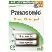 Revenda Pilhas Recarregáveis - Pilha recarregável 1x2 Panasonic NiMH Mignon AAA 1000 mAh Ready para U