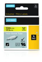 Revenda Acessórios POS - Dymo Rhino Label, Heat-shrink Tube   12 mm x 1,5 m, Preto on yellow