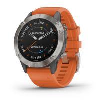 GPS Trekking Portatili - Garmin fenix 6 Sapphire Titanium grey-silver/orange