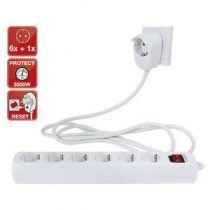 Revenda Adaptadores de Rede - Extensão Elétrica REV power strip 6+1-fach 2m Branco Powersplit + swit
