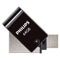 Revenda OTG Sticks - Philips 2 in 1 Preto        64GB OTG microUSB + USB 2.0