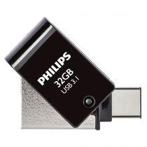 Revenda OTG Sticks - Philips 2 in 1 Preto        32GB OTG USB C + USB 3.1