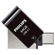Revenda OTG Sticks - Philips 2 in 1 Preto        64GB OTG USB C + USB 3.1