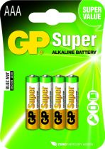 Batterie - Pilhas 1x4 GP Super Alkaline 1,5V AAA Micro LR03         030