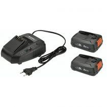 Revenda Baterias Ferramentas - Bateria Gardena Starter-Kit P4A 2 x PBA 18V/45 2,5 Ah + AL 1830 CV
