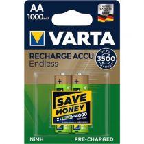 Revenda Pilhas Recarregáveis - Pilhas 1x2 Varta RECHARGE Bateria Endless 1000 mAH AA Mignon NiMH