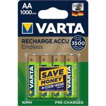 Revenda Pilhas Recarregáveis - Pilhas 1x4 Varta RECHARGE Bateria Endless 1000 mAH AA Mignon NiMH