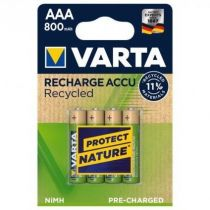 Revenda Pilhas Recarregáveis - Pilhas 1x4 Varta RECHARGE Bateria Recycled 800 mAH AAA Micro NiMH