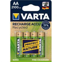 Revenda Pilhas Recarregáveis - Pilhas 1x4 Varta RECHARGE Bateria Recycled 2100 mAH AA Mignon NiMH