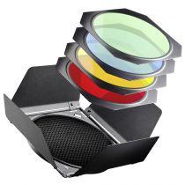Revenda Difusores Flash - walimex Barndoors/Honeycombs/ Colour Filtro Set