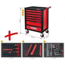 Revenda Malas / Sacos Ferramentas - Caixa Ferramentas Móvel KS Tools RACINGline BLACK/RED Tool Box w. 7 Dr