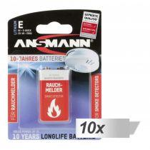 Revenda Pilhas - Pilhas 10x1 Ansmann Lithium 9V-Block specifically para Detetor de Fumo