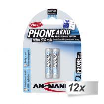 Revenda Pilhas Recarregáveis - Pilhas 12x2 Ansmann maxE NiMH bat. Micro AAA 800 mAh DECT PHONE