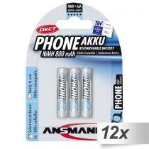 Revenda Pilhas Recarregáveis - Pilhas 12x3 Ansmann maxE NiMH bat. Micro AAA 800 mAh DECT PHONE