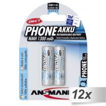 Revenda Pilhas Recarregáveis - Pilhas 12x2 Ansmann maxE NiMH bat. Mignon AA 1300 mAh DECT PHONE