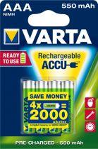 Revenda Pilhas Recarregáveis - Pilhas 1x4 Varta RECHARGE Bateria Power 550 mAH AAA Micro NiMH