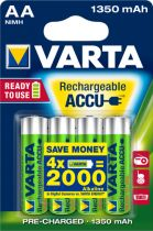 Revenda Pilhas Recarregáveis - Pilhas 1x4 Varta RECHARGE Bateria Power 1350 mAH AA Mignon NiMH