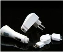 Caricabatterie iPhone - Apple Iphone Kit Caricabatteria Muro + da Auto + Cavo USB