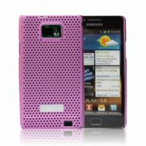 Cover Batterie - Samsung SAMGS2CCPI metal look snap on case pink Galaxy S2