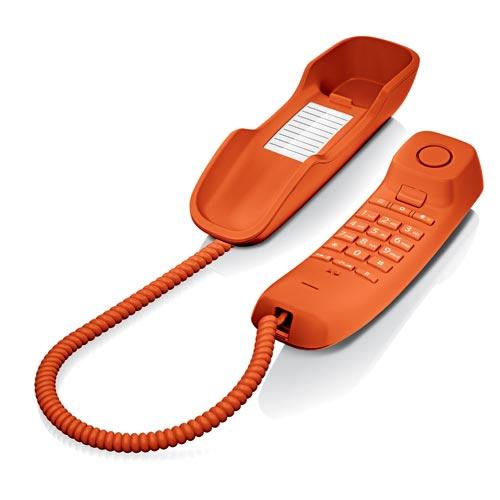 Telefones Fixos Analógicos - Telefone Gigaset Euroset DA210 laranja mesa / mural tipo gondola
