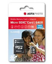 Comprar Micro SD / TransFlash - AgfaPhoto Mobile High Speed 64GB MicroSDXC Class 10 + Adapte 10582