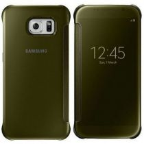 Comprar Accesorios Galaxy S6  - Funda Samsung Clear View Cover Gold Galaxy S6 EF-ZG920BFEGWW