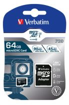 achat Micro SD / TransFlash - Verbatim MicroSDXC Pro 64Go Class 10 UHS-I incl Adapter 47042