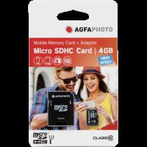 Comprar Tarjeta Micro SD / TransFlash - AgfaPhoto Mobile High Speed  4GB MicroSDHC Class 10 (+ Adapter) 10578