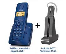 Comprar Teléfonos Inalámbricos DECT  - KIT inalambrico Gigaset A120 Azul + Auricular Dect GAP Plantronics C56