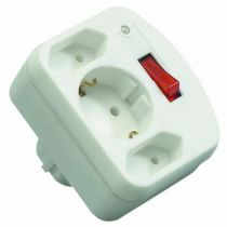 Comprar Adaptadores para Red - REV 3-fold Adapter + switch + Surge protector     Blanco