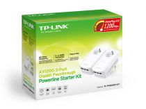 Comprar Corriente portadora en línea - TP-LINK AV1300 3-Port Gigabit Passthrough Powerline Starter Kit