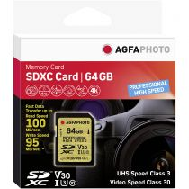 achat Secure Digital SD - AgfaPhoto SDXC UHS I U3 V30 64Go Professional High Speed 10606