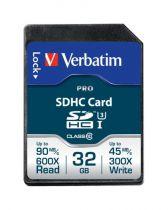 Comprar Tarjeta Secure Digital SD - Verbatim SDHC Card Pro 32GB Class 10 UHS-I 47021