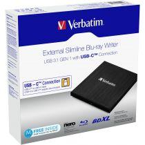 achat Graveur DVD Externe - Verbatim Slimline Blu-ray Writer USB 3.1 GEN 1 USB-C 43889