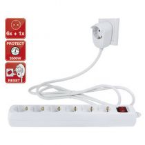 Comprar Adaptadores para Red - REV power strip 6+1-fach 2m Blanco Powersplit + switch 0012695114 WS