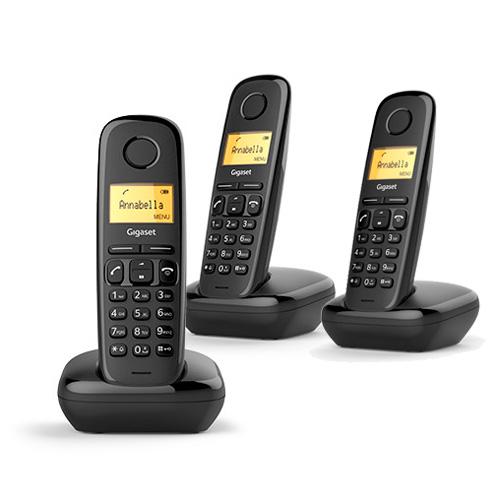 Téléphone sans fil DECT - Téléphone sem-fios dect Gigaset A170 Trio Noir